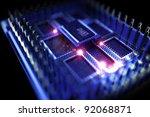 Quantum Processor Computer. 3d...