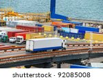 truck carries container to a... | Shutterstock . vector #92085008