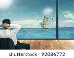 man in sea looking | Shutterstock . vector #92086772