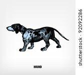 engraving vintage dog hound... | Shutterstock .eps vector #92092286