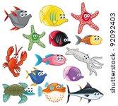 family of funny fish. vector... | Shutterstock .eps vector #92092403
