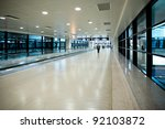 hallway of airport at pudong...