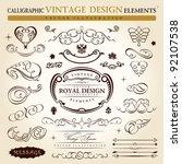 calligraphic elements vintage... | Shutterstock . vector #92107538