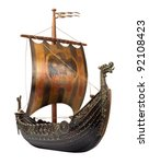 antique viking ship model... | Shutterstock . vector #92108423