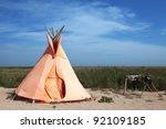 Wigwam - Indians of North America home - stock photo