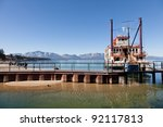 Sightseeing cruise around Emerald Bay on Lake Tahoe on Tahoe Queen - stock photo