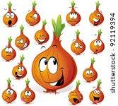 onion cartoon with many...