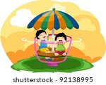 illustration of landscape kids... | Shutterstock .eps vector #92138995