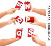 alphabet symbol card in a hand... | Shutterstock . vector #92143792