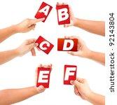 alphabet symbol card in a hand... | Shutterstock . vector #92143804