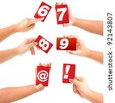 alphabet symbol card in a hand... | Shutterstock . vector #92143807