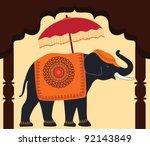 Decorated Elephant And Umbrella ...