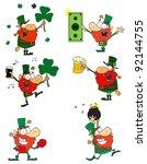 happy leprechauns.vector... | Shutterstock .eps vector #92144755