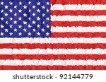 america grunge flag on wrinkled ... | Shutterstock . vector #92144779