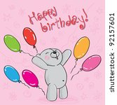 greeting card with teddy bear... | Shutterstock . vector #92157601