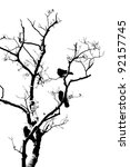 tree silhouette with three birds | Shutterstock . vector #92157745