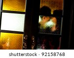 romance couple kissing behind... | Shutterstock . vector #92158768