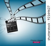 cinema clapper and film  vector ... | Shutterstock .eps vector #92164627