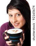 girl with cappuccino - stock photo