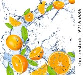 Fresh Oranges Falling In Water...
