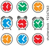 vector set of colorful clock symbols - stock vector