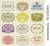 vector set vintage labels | Shutterstock .eps vector #92170354