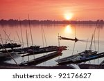 Fisherman Boat In Mekong River...