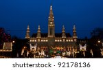The Vienna City Hall (Rathaus) with Christmas Market - stock photo