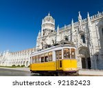historic classic yellow tram of ... | Shutterstock . vector #92182423