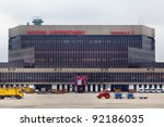 MOSCOW, RUSSIA - APR 12: View of terminal F of Sheremetyevo International Airport on APR, 12 2011. It is the second largest airport in Russia (after Domodedovo). - stock photo