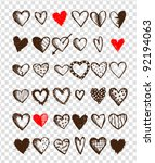 set of valentine hearts for... | Shutterstock .eps vector #92194063