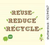 reuse reduce recycle with... | Shutterstock .eps vector #92194567