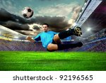 football player on field of... | Shutterstock . vector #92196565
