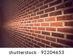 Close Up Of Brick Wall Ending...