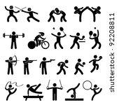 indoor sport game athletic set... | Shutterstock . vector #92208811