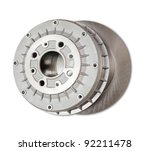 automotive parts. Car brake wheel. Isolated on white with clipping path - stock photo