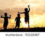 children running on meadow at... | Shutterstock . vector #92218387