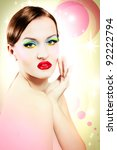 woman face with colorful makeup ... | Shutterstock . vector #92222794