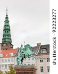 Small photo of view on tower St. Nicholas Church and Statue of Absalon in Copenhagen, Denmark