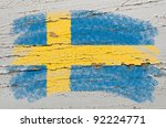 chalky swedish flag painted... | Shutterstock . vector #92224771