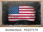 Chalky united states of america flag painted with color chalk on old blackboard - stock photo