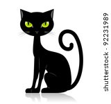 Stock vector black cat isolated on white background 92231989
