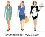 air hostess  waitress  nurse  ... | Shutterstock . vector #92234104
