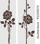 Stock vector decorative vintage rose silhouette vertical divider with flowers vector set of decorative floral 92235073