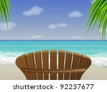 bay,beach,beautiful,beauty,blue,caribean beach,chair,coast,coastline,empty chair,exotic,getaway,horizon,idyllic,illustration