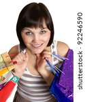 the girl with purchases on a... | Shutterstock . vector #92246590