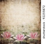 Water Lily on grunge textured background - stock photo