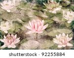 Water Lily On Grunge Textured...