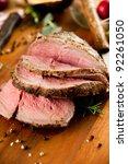 medium rare cooked beef roast... | Shutterstock . vector #92261050