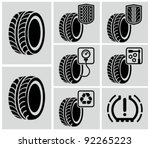 vector black tire icons. | Shutterstock .eps vector #92265223